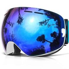 Anti-kabut Kacamata Ski-Daya Pandang Luas Anti Gores Anti UV 400 OTG Nyaman Kacamata dengan Dilepas Dual Layer Lensa, 03 Putih VLT 18.4%-Intl