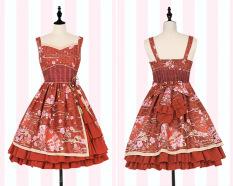 Corak Angin Gaya Jepang Soft Gadis Pakaian Adat Tiongkok Gaun Merah Gaun Baju Wanita Dress Wanita Gaun Wanita Original