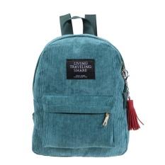 Corduroy Shoulder Bag Retro Zipper School Backpack untuk Remaja Girls (Hijau)-Intl