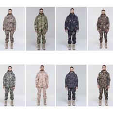 Coromose Pria Softshell Militer Hoodie Taktis Jaket Bulu Outdoor Camping Hiking + Celana Set Warna: