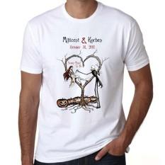 Mayat Pengantin Desain Kasual Lengan Pendek Gothic Mimpi Buruk Sebelum Atasan Natal Mens T Shirt Putih 01-Internasional