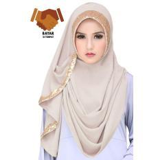 Cotton Bee Jilbab Instan 2 Faces Tazkia Sequins - Creme