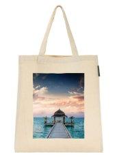 Katun Kanvas Belanja Tas Idyllic Arbor Air Kepulauan Bahu Tote Shopper Tas Creamy Putih Hadiah Ramah Lingkungan- internasional