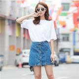 Beli Cotton High Waist Single Breasted Rok Denim Pendek Fashion Slim Paket Hip A Line Rok Biru Murah Di Indonesia