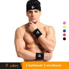 Spesifikasi Cotton Sport Headband Sweatband Head Band For Basketball 1 Hair Band And 2 Wristbands Black Intl Online