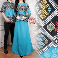 Couple batik dress maxi panjang wanita jumbo long dress dan atasan kemeja pria shirt Nakura