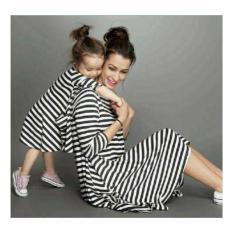 Couple Dress Salur Mom Kid black Couple Ibu dan Anak Baju Keluarga