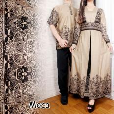 Couple Gamis / Baju Pasangan Gamis maxi Dres Plus Kemeja Pria Sophia Warna Mocca