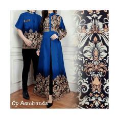 Review Toko Couple Gamis Baju Pasangan Gamis Maxi Dress Plus Kemeja Pria Asmiranda Warna Biru