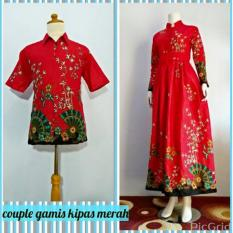 Couple Gamis Kipas Merah Pendek