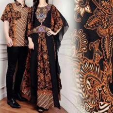 Couple Kaftan Mewah Alivia Coklat Busana Muslim Pesta Baju Pasangan Sarimbit Batik Couple Alvia