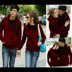 Jual Couple Lover Jaket Couple Qing Luoc Maroon Sablon Hitam Fashion Couple Jaket Hoodie Jaket Pasangan Pria Wanita Ori