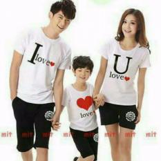 couple lover-kaos couple family-I LOVE U-putih (AYAH+IBU+ANAK)  KAOS KELUARGA  FAMILY COUPLE  BAJU KEMBARAN  T-SHIRTS FAMILY