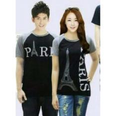 Couple lover -T-Shirt couple PARIS grey black pd (PRIA+WANITA) KAOS KAPEL BAJU KEMBARAN KAOS PASANGAN