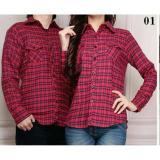 Review Toko Couple Lover Kemeja Couple Flanel 132 Merah Pria Wanita Baju Fashion Kemeja Pasangan Flanel Premium Online