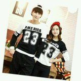 Jual Couple Lover Sweater Pasangan America 23 Hitam Putih Pria Wanita Sweater Couple Fashion Couple Baju Kembaran Branded