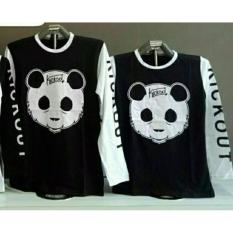 Couple lover - T-shirt couple KIKOUT PANDA BLACK WHITE LP (PRIA+WANITA)  KAOS PASANGAN  FASHION COUPLE  KAOS KAPEL  BAJU KEMBARAN