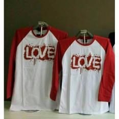 Couple lover - T-shirt couple KIMONO LOVE RED WHITE LP (PRIA+WANITA) KAOS PASANGAN FASHION COUPLE KAOS KAPEL BAJU KEMBARAN