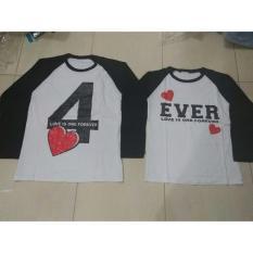 Jual Couple Lover T Shirts Couple Real Pic Kaos Pasangan 4Ever White Black Lp Couplelover Ori