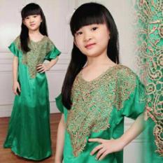 couple store cs - dress kaftan anak perempuan arlinda hijau full bordiran + belakang ada sleting
