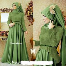 couple store cs - dress muslim elegant cerlina green-army (bahan tebal , strech , bagus) + pashmina POLOS JERSEY