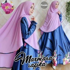 Cuci Gudang Couple Store Cs Dress Muslim Flower Elegant Navy Purple Bahan Maxmara Import Motif Asli Good Quality Dress Bergo