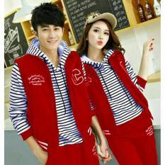 couple store cs - jaket C  merah ( outer + dalam ) babyterry jahitan rapi  (pembayaran di tempat)