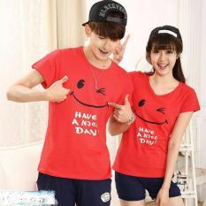 Jual Couple Store Cs Kaos Pasangan Have A Nice Day Red Satu Set