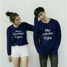 couple store cs - kaos pasangan /t-shirt couple MR MRS right / marmar NAVY LENGAN PANJANG I COD I BAYAR TEMPAT I 2 PC I KAOS PASANGAN I