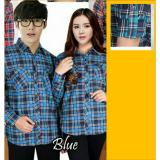 Couple Store Cs Kemeja Couple Pasangan Flanel Good Quality Blue Original