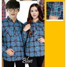 Jual Beli Couple Store Cs Kemeja Couple Pasangan Flanel Good Quality Blue