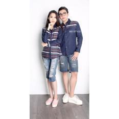 Jual Couple Store Cs Kemeja Pasangan Bg Style Romantic Navy Baru
