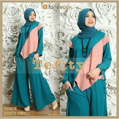 couple store cs - stelan muslim elegant 3 in 1 ( blouse + celana kulot + pashmina ) tosca mix pink