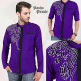 Review Toko Couple Store Kemeja Muslim Koko Casual Bordir Purple