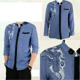 Couple Store Kemeja Muslim Koko Pria Bordir Blue Good Quality Original