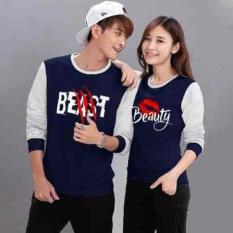 [Couple Sweater Beast Beauty Navy LO] Couple Sweater Babyterry Navy