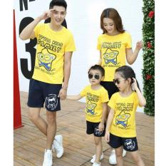 COUPLELOVER-FAMILY KEMBARAN   BAJU KELUARGA STARS FAMILY YELLOW  FASHION FAMILY  FAMILY COUPLE  AYAH,IBU DAN 2ANAK