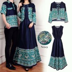 COUPLELOVER- BUSANA MUSLIM COUPLE NAVY 3IN1-TOSCA (PRIA+WANITA)  MUSLIM WEAR  FASHION COUPLE  COUPLE BATIK  BAJU PASANGAN