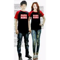 COUPLELOVER- KAOS COUPLE PAPA MAMA BARU BLACK RED PD (PRIA+WANITA)  T-SHIRTS COUPLE  BAJU FASHION  KAOS PASANGAN