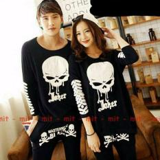 couplelover-kaos couple pasangan SKULL JOKER black lp (PRIA+WANITA)  KAOS KAPEL  FASHION COUPLE  T-SHIRTS COUPLE  BAJU PASANGAN