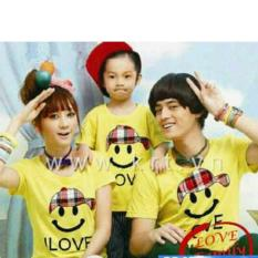 Jual Couplelover Kaos Family Couple Smile Topi Kuning Ayah Ibu Anak Fashion Family Baju Keluarga T Shirts Couple Kaos Kembaran Import