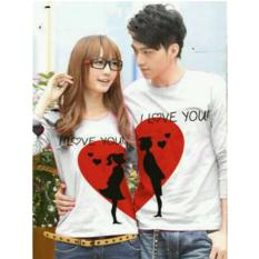 COUPLELOVER-KAOS PASANGAN/COUPLE  MOON LOVE PUTIH LP (PRIA L DAN WANITA M )  FASHION COUPLE  BAJU KEMBARAN  KAOS KAPEL  T-SHIRTS COUPLE