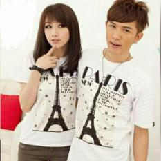 COUPLELOVER- KAOS PASANGAN  KAOS KAPEL  BAJU FASHION   KAOS COUPLE PARIS GOLD  WHITE PD (PRIA+WANITA)