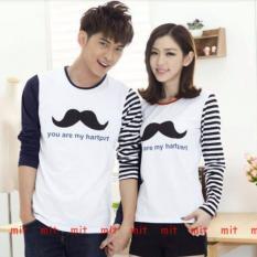 Spesifikasi Couplelover Kaos Pasangan Salur Kumis Lp Putih Pria Wanita T Shirts Couple Kaos Kembaran Baju Fashion Yang Bagus