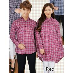 Jual Couplelover Kemeja Pasangan Flanel Tunik 109 Red Pria Wanita Baju Fashion Kemeja Couple Blouse Tunik Grosir