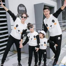 COUPLELOVER-SWEATER FAMILY COUPLE PANDA BLACK WHITE 2KIDS  BAJU KELUARGA  FASHION COUPLE (AYAH+IBU+2ANAK)