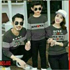 COUPLELOVER- SWEATER FAMILY LOVE MORE GREY 1ANAK (AYAH+IBU+ANAK)  SWEATER KAPEL  BAJU PASANGAN  SWEATER KEMBARAN