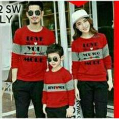 COUPLELOVER- SWEATER FAMILY LOVE MORE RED 1ANAK (AYAH+IBU+ANAK)  SWEATER KAPEL  BAJU PASANGAN  SWEATER KEMBARAN