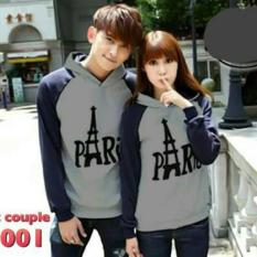 COUPLELOVER-SWEATER  HOODIE COUPLE KIMONO PARIS GREY NAVY (PRIA+WANITA)  BAJU FASHION  SWEATER HOODIE  SWEATAR PASANGAN