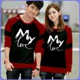 Kualitas Couplelover Sweater Pasangan My Love Black Maroon Pria Wanita Baju Pasangan Sweater Kapel Baju Kembaran Fashion Couple Couplelover